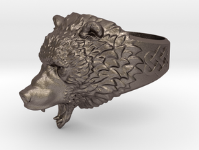 Roaring bear ring in Stainless Steel