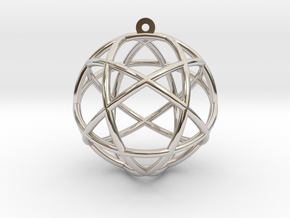 "Penta Sphere Pendant 1.5"" in Rhodium Plated Brass"
