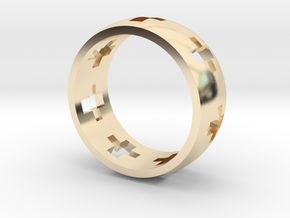 Cross Ring in 14k Gold Plated Brass