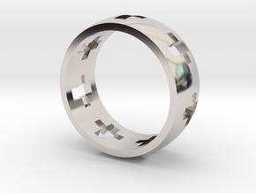 Cross Ring in Rhodium Plated Brass