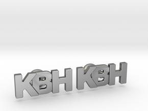 Monogram Cufflinks KBH in Fine Detail Polished Silver