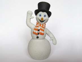 Christmas Snowman Smiling Waving OrangeWhite Scarf in Full Color Sandstone