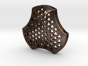 Shield Pendant 40mm in Polished Bronze Steel