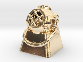 Diver Helmet (For Cherry MX Keycap) in 14K Yellow Gold