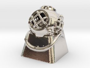 Diver Helmet (For Cherry MX Keycap) in Rhodium Plated Brass