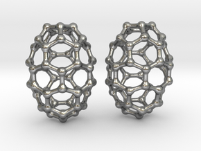 C50 Buckyball earrings in Natural Silver
