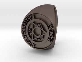 Esoteric Order Of Dagon Signet Ring Size 11 in Polished Bronzed Silver Steel