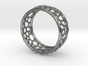 Cellular structure ring in Polished Silver