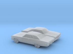 1/160 2X 1969 Plymouth Fury Coupe in Smooth Fine Detail Plastic