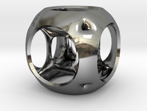 Hypercube-tesseract- pendant in Fine Detail Polished Silver