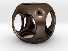 Hypercube-tesseract- pendant in Polished Bronze Steel