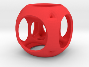 Hypercube-tesseract- pendant in Red Processed Versatile Plastic