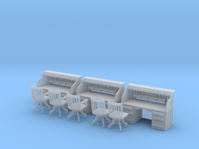 Rolltop Desks (x3) with Chairs O Scale 1/48 in Smooth Fine Detail Plastic