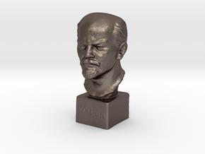 Lenin in Polished Bronzed Silver Steel