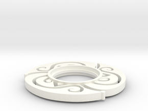 MHS Compatible Floral Tsuba in White Strong & Flexible Polished
