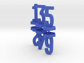 Six Generic 1 Inch Base Minis - 1, 2, 3, 4, 5, 6 in Blue Processed Versatile Plastic