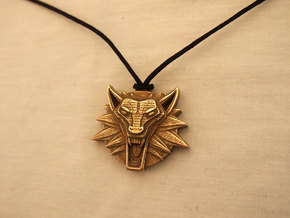 Two Sided Wolf Head Medallion Pendant in Polished Bronzed Silver Steel