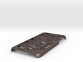 Iphone 6 Plus Case Flower in Polished Bronzed Silver Steel