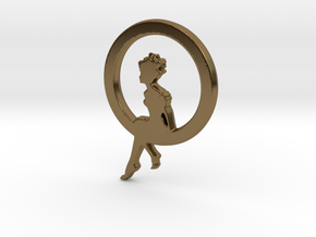 Girl In A loop Pendant in Polished Bronze