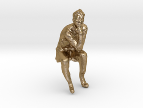 Emil the thinker in Polished Gold Steel