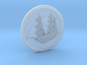 Ship Basrelief in Smooth Fine Detail Plastic