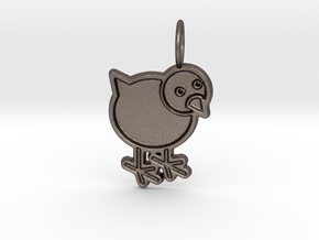 Chicken Pendant in Polished Bronzed Silver Steel