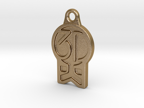 3DKitbash Logo Pendant in Polished Gold Steel