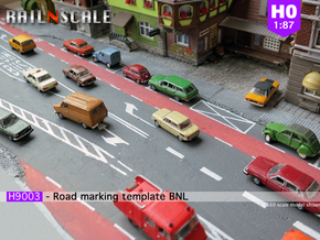 Road marking template BNL (H0 1:87) in White Natural Versatile Plastic