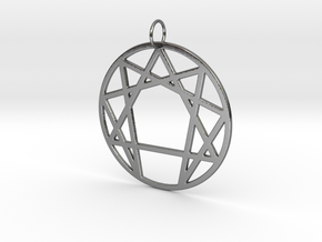 Enneagram Keychain in Fine Detail Polished Silver
