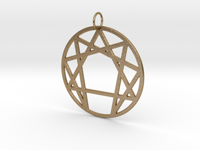 Enneagram Keychain in Polished Gold Steel