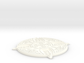 Celtic Design Coaster in White Processed Versatile Plastic
