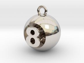 8 Ball in Rhodium Plated Brass