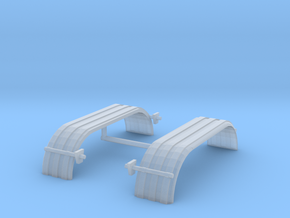 1/87th HO Truck Tandem Fenders ribbed curved in Frosted Ultra Detail