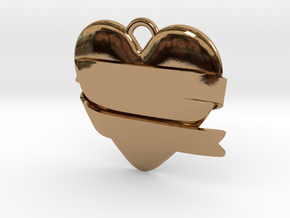 Heart With Ribbon in Polished Brass