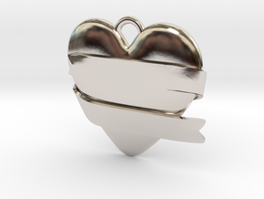 Heart With Ribbon in Rhodium Plated Brass