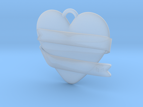 Heart With Ribbon in Smooth Fine Detail Plastic