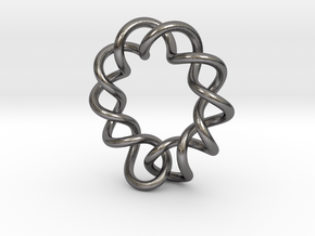 0358 Hyperbolic Knot K6.2 in Polished Nickel Steel