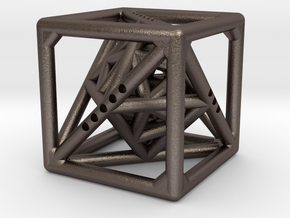 Cube with Tetrahedron, Octahedron and Icosahedron  in Stainless Steel