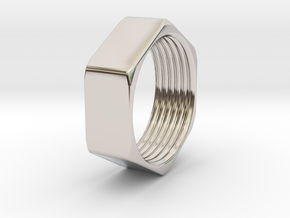 Threaded Hex Nut Ring in Rhodium Plated Brass