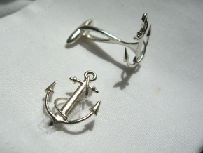 Anchor Cufflinks in Natural Silver