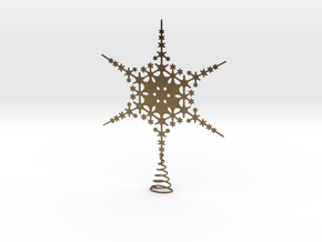 Sparkle Snow Star - Fractal Tree Top - LP1 - S in Natural Bronze