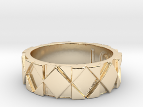 Futuristic Rhombus Ring Size 6 in 14k Gold Plated Brass