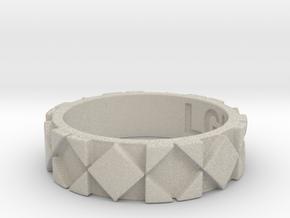 Futuristic Rhombus Ring Size 5 in Natural Sandstone