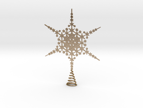 Sparkle Snow Star - Fractal Tree Top - HP2 - L in Polished Gold Steel
