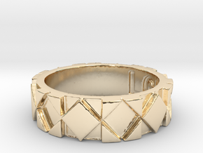 Futuristic Rhombus Ring Size 4 in 14k Gold Plated Brass