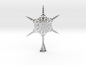 Sparkle Snow Star - Fractal Tree Top - HP3 - S in Fine Detail Polished Silver