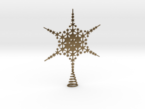 Sparkle Snow Star - Fractal Tree Top - HP3 - S in Polished Bronze