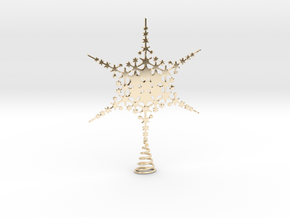 Sparkle Snow Star - Fractal Tree Top - HP3 - S in 14k Gold Plated Brass