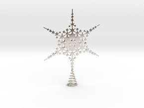 Sparkle Snow Star - Fractal Tree Top - HP3 - S in Rhodium Plated Brass