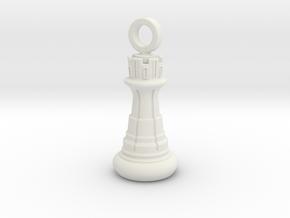 Chess Rook Pendant in White Natural Versatile Plastic